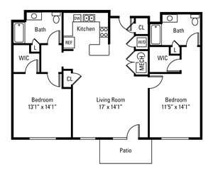 2 Bedroom, 2 Bath 1,183 sq. ft.
