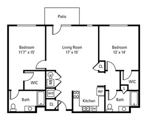 2 Bedroom, 2 Bath 1,191 sq. ft.