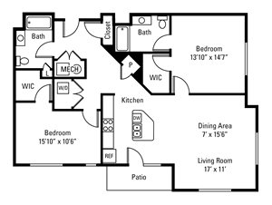 2 Bedroom, 2 Bath 1,300 sq. ft.