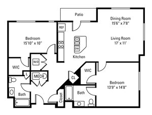 2 Bedroom, 2 Bath 1,301 sq. ft.