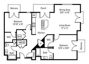 2 Bedroom, 2 Bath 1,302 sq. ft.