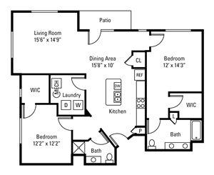 2 Bedroom, 2 Bath 1,362 sq. ft.