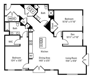 2 Bedroom, 2 Bath 1,661 sq. ft.