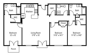 3 Bedroom, 2 Bath 1,531 sq. ft.