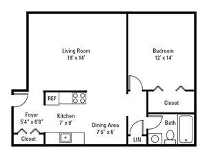 1 Bedroom, 1 Bath 850 sq. ft.