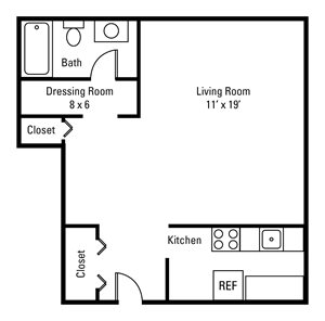 Studio, 1 Bath 440-450 sq. ft.