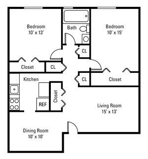 2 Bedroom, 1 Bath 840 sq. ft.