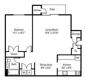 1 Bedroom, 1 Bath 702 sq. ft.