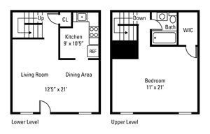 1 Bedroom, 1 Bath Townhome 915 sq. ft.