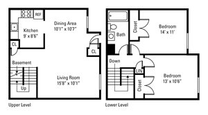 2 Bedroom, 1 Bath Townhome 1,030 sq. ft.
