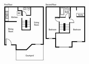 2 Bedroom, 1.5 Bath 1,376 sq. ft.