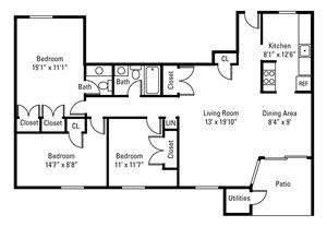 3 Bedroom, 1.5 Bath 1,046 sq. ft.