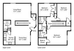 3 Bedroom, 2.5 Bath Townhome 1,402 sq. ft.