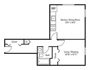 Studio, 1 Bath 450 sq. ft.