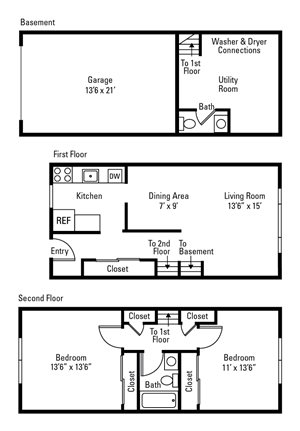 2 Bedroom, 1.5 Bath Townhome 1,112 sq. ft.