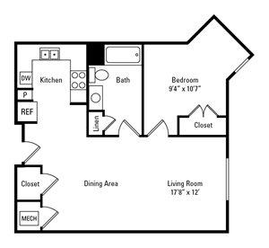 1 Bedroom, 1 Bath 661 sq. ft.