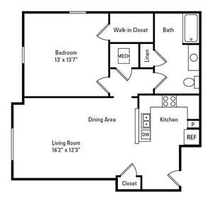 1 Bedroom, 1 Bath 760 sq. ft.