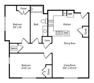 2 Bedroom, 1 Bath 834 sq. ft.