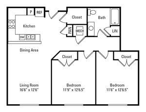 2 Bedroom, 1 Bath 898 sq. ft.
