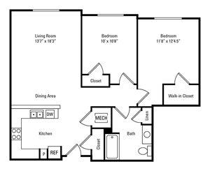 2 Bedroom, 1 Bath 900 sq. ft.