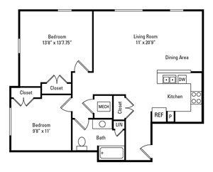 2 Bedroom, 1 Bath 934 sq. ft.