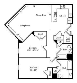 2 Bedroom, 2 Bath 1,034 sq. ft.