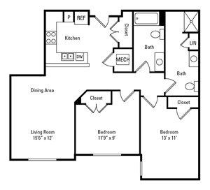 2 Bedroom, 2 Bath 935 sq. ft.
