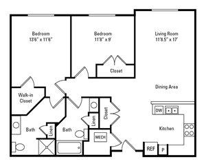 2 Bedroom, 2 Bath 965 sq. ft.