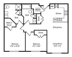 2 Bedroom, 2 Bath 974 sq. ft.
