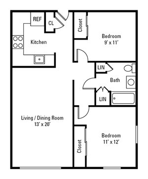 2 Bedroom, 1 Bath 1,048 sq. ft.