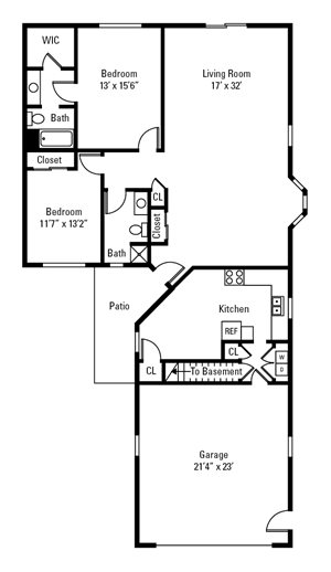 2 Bedroom, 2 Bath Townhome 1,434 sq. ft.