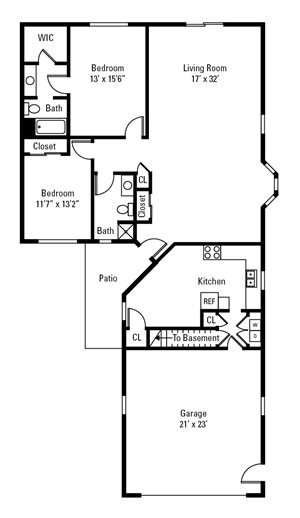 2 Bedroom, 2 Bath Townhome 1,530 sq. ft.