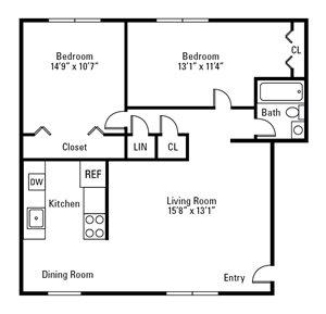 2 Bedroom, 1 Bath 747 sq. ft.