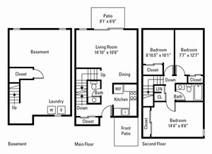 3 Bedroom, 1.5 Bath Townhome 1,044 sq. ft.