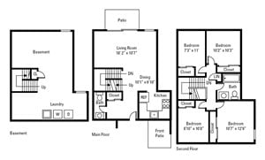 4 Bedroom, 1.5 Bath Townhome 1,150 sq. ft.