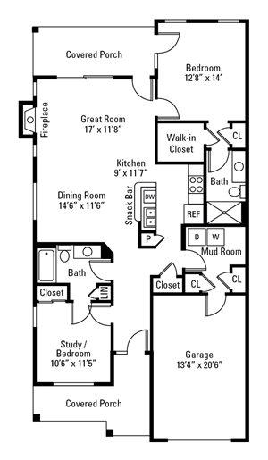 2 Bedroom, 2 Bath 1,255-1,268 sq. ft.
