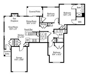 3 Bedroom, 2 Bath 1,525 sq. ft.
