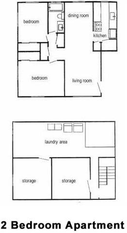 2 Bedroom, 1 Bath 850 sq. ft.