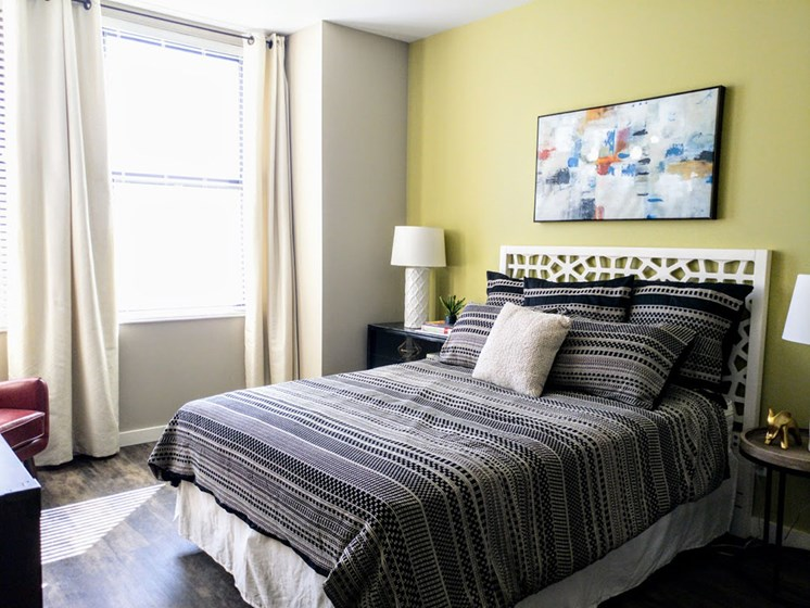 Comfortable Bedroom With Large Window at Studebaker Lofts, Indiana, 46601