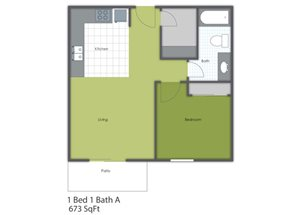 1 Bedroom 1 Bath A