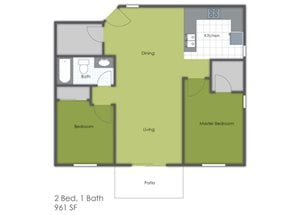 2 Bedroom 1 Bath C