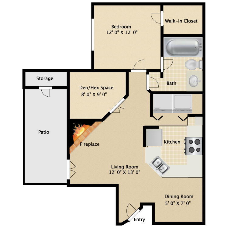 One Bedroom One Bath with Den  920 sq ft
