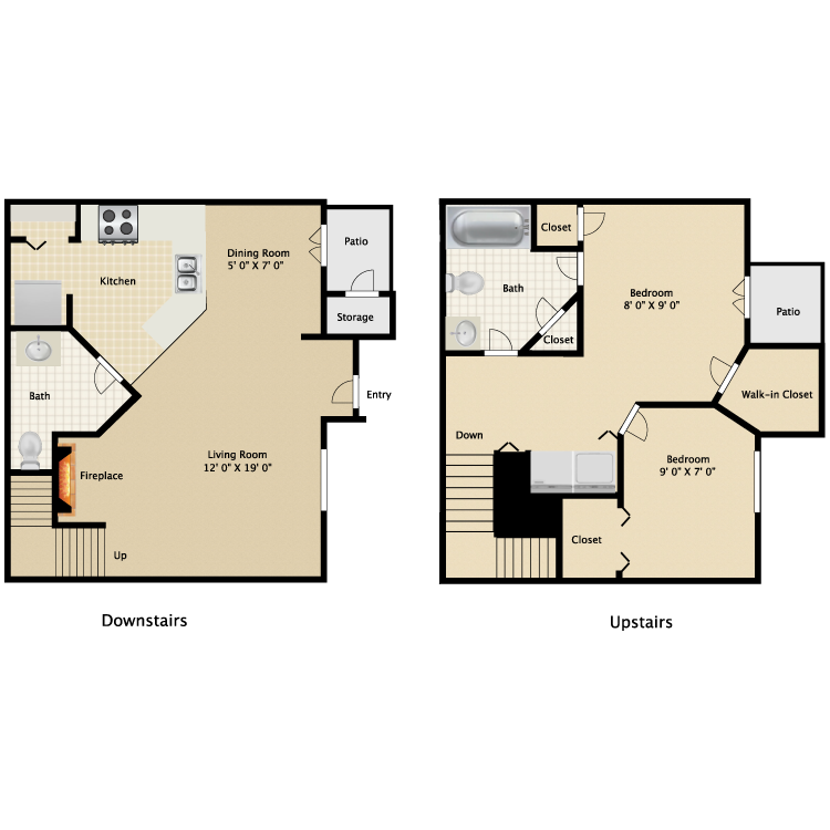 2 Bedroom and 1 and a Half Bath Townhome  910 sq ft