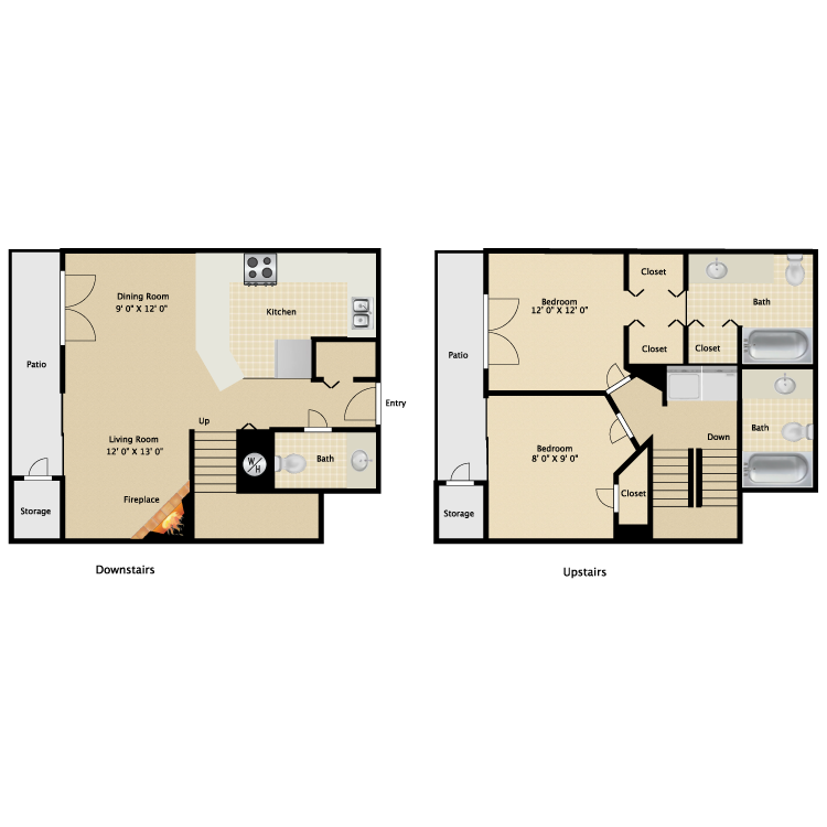 Two Bedroom and Two and One Half Bath Townhome  1080 sq ft