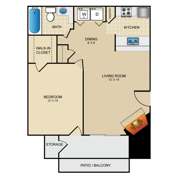 One Bedroom One Bath 528 sq ft