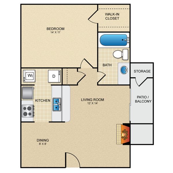 One Bedroom One Bath 600 sq ft