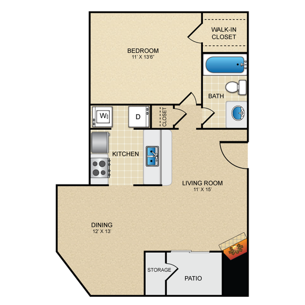 One Bedroom One Bath 665 sq ft
