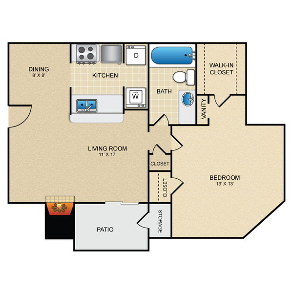 One Bedroom One Bath 695 sq ft