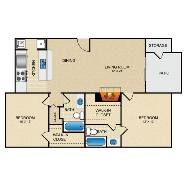 Two Bedroom Two Bath 985 sq ft