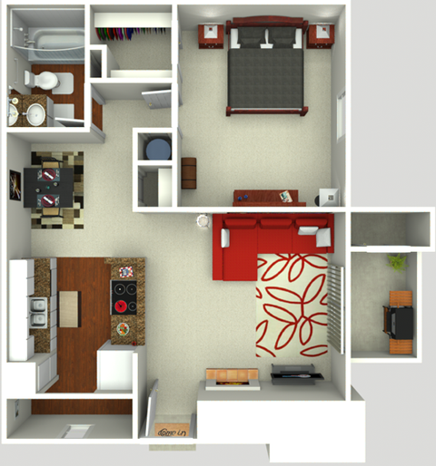 One Bedroom One Bath 700 sq ft